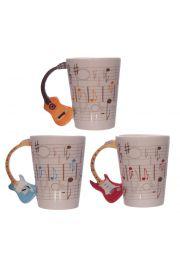 Kubek z motywem muzycznym - uchwyt w kształcie gitary - design T