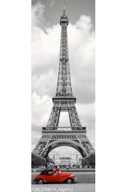Paryż Wieża Eiffla Czerwony Samochód - plakat