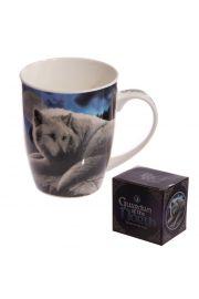 Kubek ceramiczny, biały wilk przy pełni Księżyca