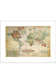 Mapa Świata British Empire - art print