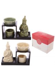 Świecznik olejowy z drewna i ceramiki - Budda