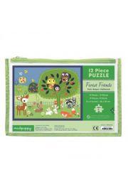 Mudpuppy, Puzzle w saszetce 12 elementów Leśne zwierzęta