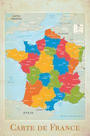 Mapa Francji - plakat