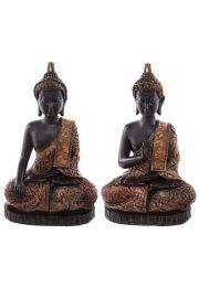 Siedzący tajski budda - duży, efekt zabytkowego złota i czerwien
