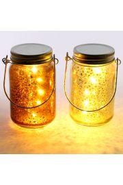 Ozdobny świecący słoik LED ze szkła i metalu