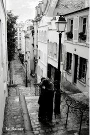 Paryż - La Baiser - Pocałunek Zakochanych - plakat
