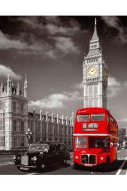 Londyn Big Ben Taxi i Czerwony Autobus - plakat