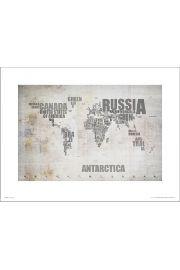 Mapa Świata Rustic - art print