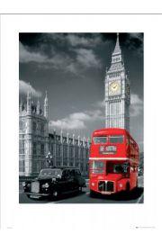 Londyn big ben czerwony autobus i taxi - reprodukcja