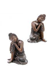 Figurka Buddy z głową na kolanie wykonana z żywicy polerowanej p