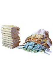 Zestaw 6 pieluszek, 10 wkładów Newborn - pastele