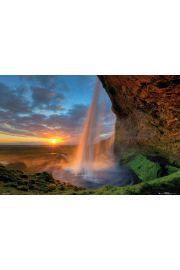 Islandia - Wodospad o Zachodzie Słońca Tom Mackie - plakat