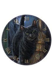 Zegar �cienny, czarny kot w magicznym domu