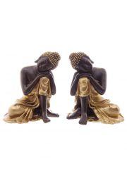 Złoto-brązowa figurka opartego na kolanie tajskiego Buddy - 12cm