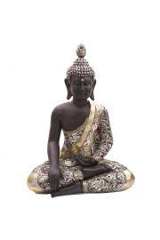 Metaliczna figurka z tajskim buddą siedzącym po turecku