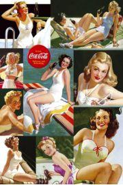 Coca-Cola Spragniona Dziewczyny na Pla�y - retro plakat