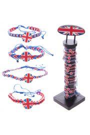 Skręcane bransoletki w kolorach brytyjskiej flagi- 96 sztuk na o