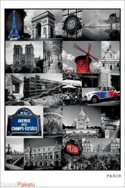 Paryż i jego Symbole Kolaż - plakat