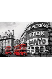 Londyn Piccadilly Circus Czerwone Autobusy - plakat