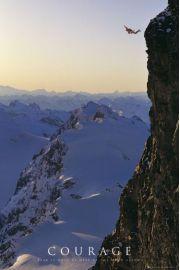Odwaga Wspinaczka Górska - plakat motywacyjny