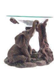 Podstawka pod świeczki w kształcie słonia ze szklaną miseczką na