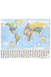Polityczna Mapa �wiata i Flagi - plakat