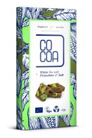 Czekolada Biała Z Pistacjami I Solą Bio 50 G - Cocoa