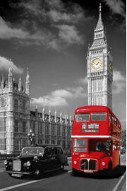 LondynPiccadilly Circus - Czerwony Autobus i Taxi - plakat