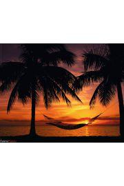 Zachód Słońca i Hamak na Plaży - plakat