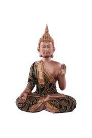 Siedzący tajski budda z ręką w górze - średni, złoty efekt
