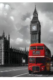 Londyn, Anglia - Czerwony Autobus i Big Ben - plakat