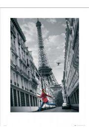 Paryż girl skipping - reprodukcja
