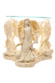Kremowa figurka aniołów - podstawka pod świeczki