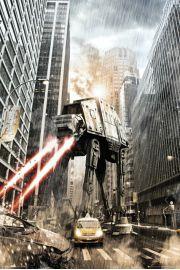 Gwiezdne Wojny Star Wars at-at na Manhattanie - Nowy Jork - plakat