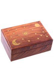 Pudełko ozdobne z drewna Sheesham mozaika słońce, księżyć i gwiazdy