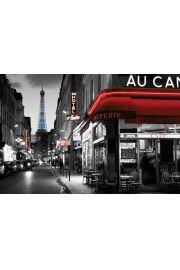 Paryż - Widok Nocą na Wieża Eiffla- plakat