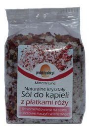 Naturalna krystaliczna sól kąpielowa z płatkami róży, 300g