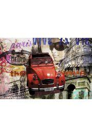 Paryż Wieża Eiffla Citroen deux cv - plakat