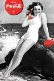 Coca Cola Spragniona Dziewczyna - retro plakat