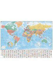 Mapa Świata Flagi i Fakty - plakat