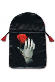 Satynowy woreczek ręka opleciona różą (na karty tarota)