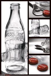 Coca-Cola - Butelki Kapsle i Otwieracz - plakat