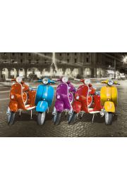 Kolorowe Skutery Vespa w Rzymie - plakat