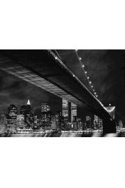 Nowy Jork Manhattan nocą - plakat 3D