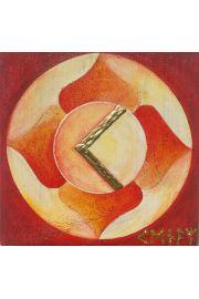 Runa Kenaz malowana na drewnie sosnowym