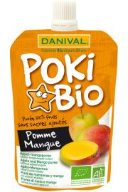 Poki - Przecier Jabłko-Mango 100% Owoców Bez Dodatku Cukrów Bio 90 G - Danival