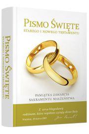 Pismo Święte Starego i Nowego Testamentu. Pamiątka zawarcia Sakramentu Małżeństwa.