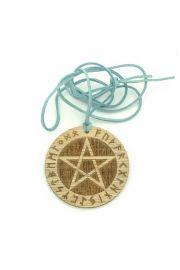 Pentagram runiczny - wisior drewniany na rzemyku