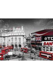 Londyn Piccadilly Circus - Czerwone Autobusy - plakat
