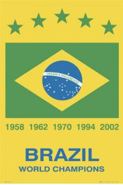 Brazylia Mistrzowie Świata - Piłka Nożna - plakat